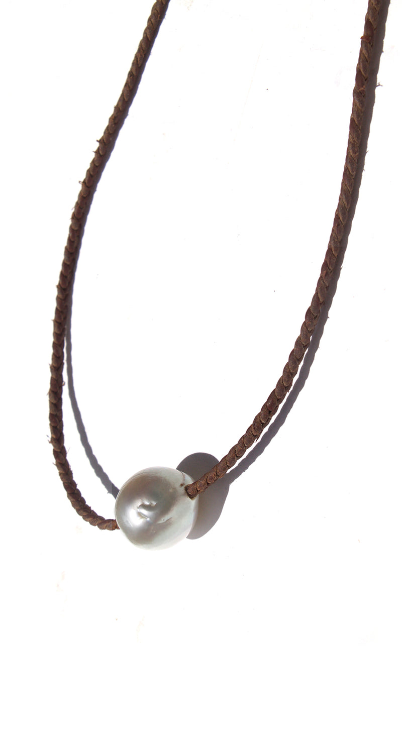 White Pearl with Braided Leather Monde Necklace