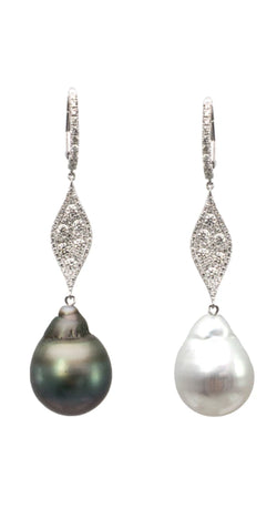 XL Tahitian Australian Pearl 18k Pave Diamond Marquis Drop Earrings