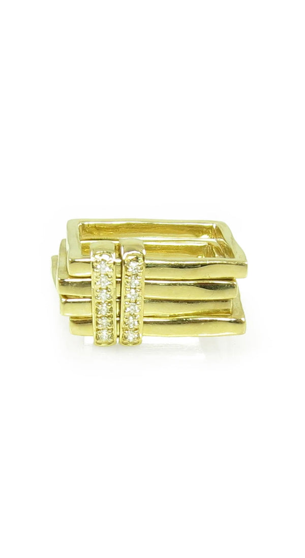 Yellow Gold 4 Stack 2 Single Row Diamond Slides Ring