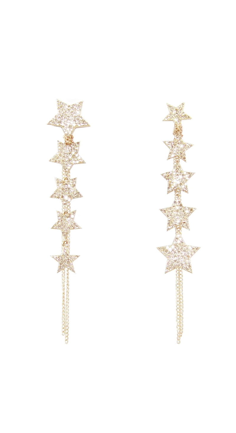 Yellow Gold Mismatched Pave Stars Wrapped Fringe Earrings