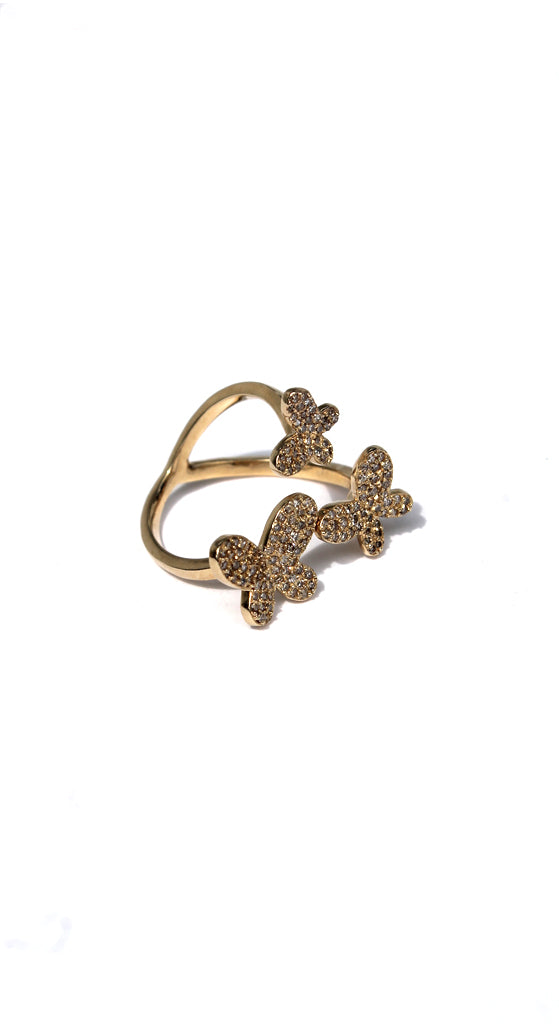 Yellow Gold Triple Diamond Butterfly Ring