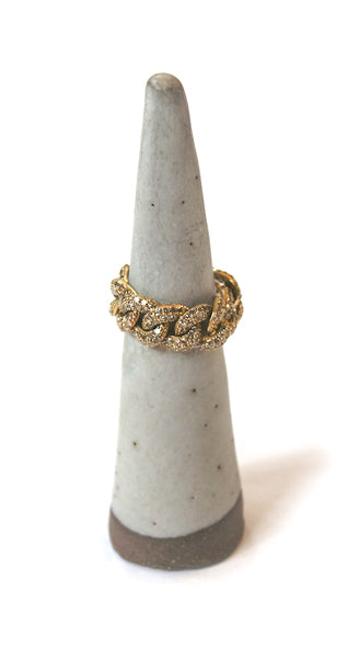 Yellow Gold Large Pave Link Ring Size 6.5