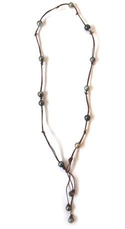 Fourteen Tahitian Baroque Pearls On Hand Rolled Triple Strand Leather Necklace