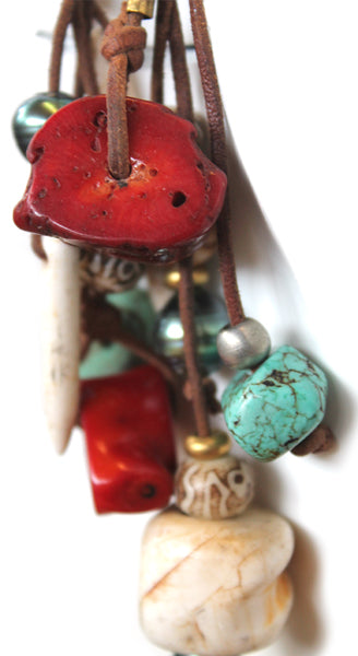Multi Element With Shells, Pearls, Sea Glass, Coral And Brass On Hand Rolled Leather Necklace