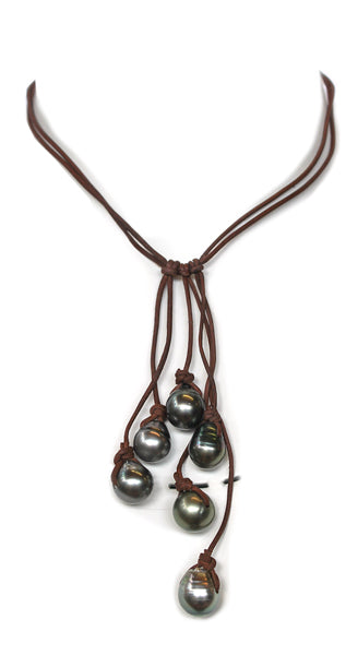 6 Tahitian Baroque Pearls On Hand Rolled Leather with Pearl Closure Necklace