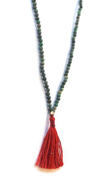 Jade Bead Tassel Necklace