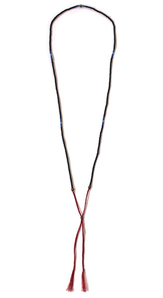 Black Glass Bead Red Tie Necklace