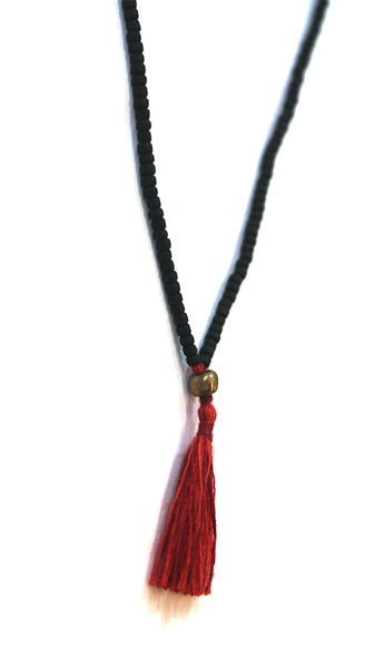 Black Glass Bead Tassel Necklace