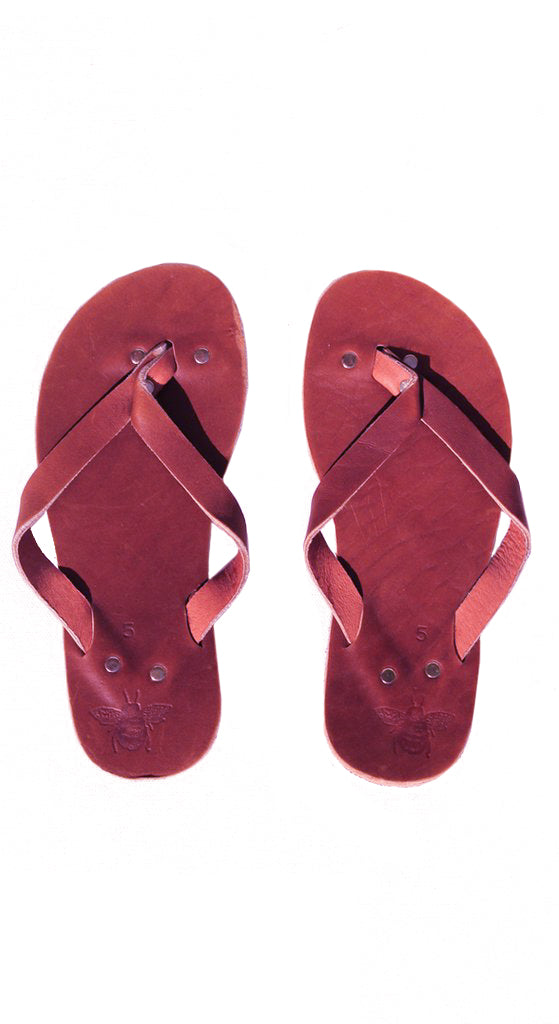 Wine Leather Flip Flops