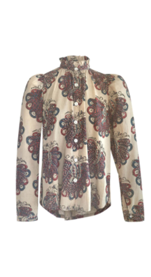 Annabel Peacock Block Print Blouse
