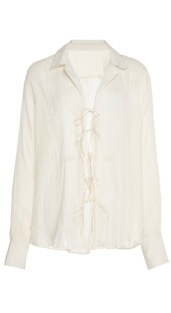 Willa Ivory Tie Blouse