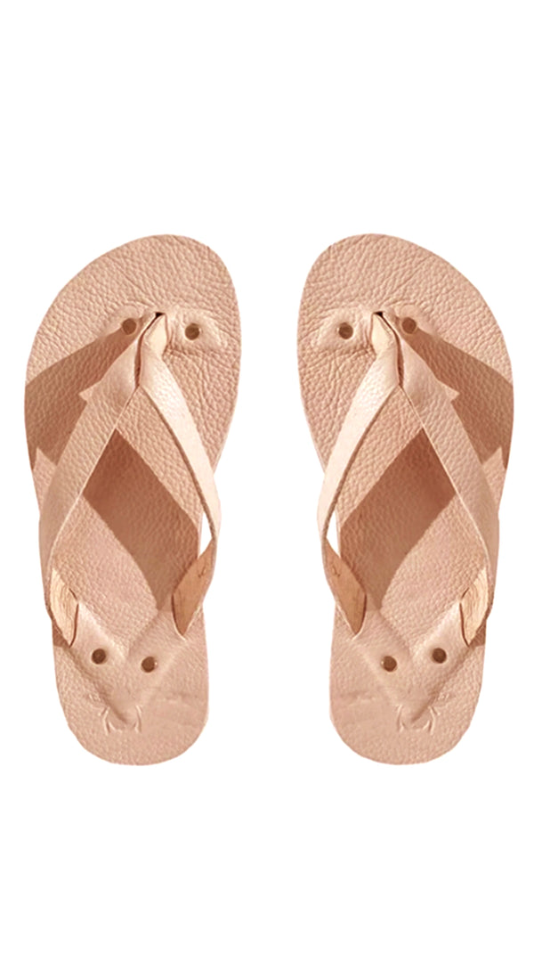 Blush Leather Flip Flops