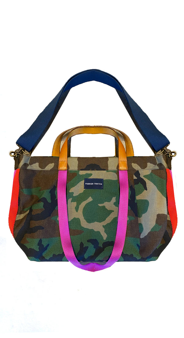 Camo Navy and Pink Stripe Bag