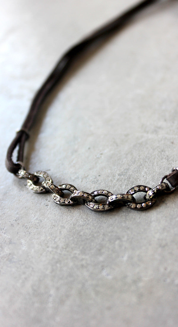 Diamond And Dark Brown Leather Chain Choker Necklace
