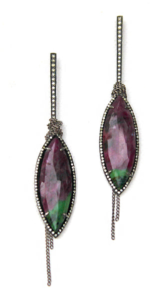 Ruby Zoisite Marquis Earrings