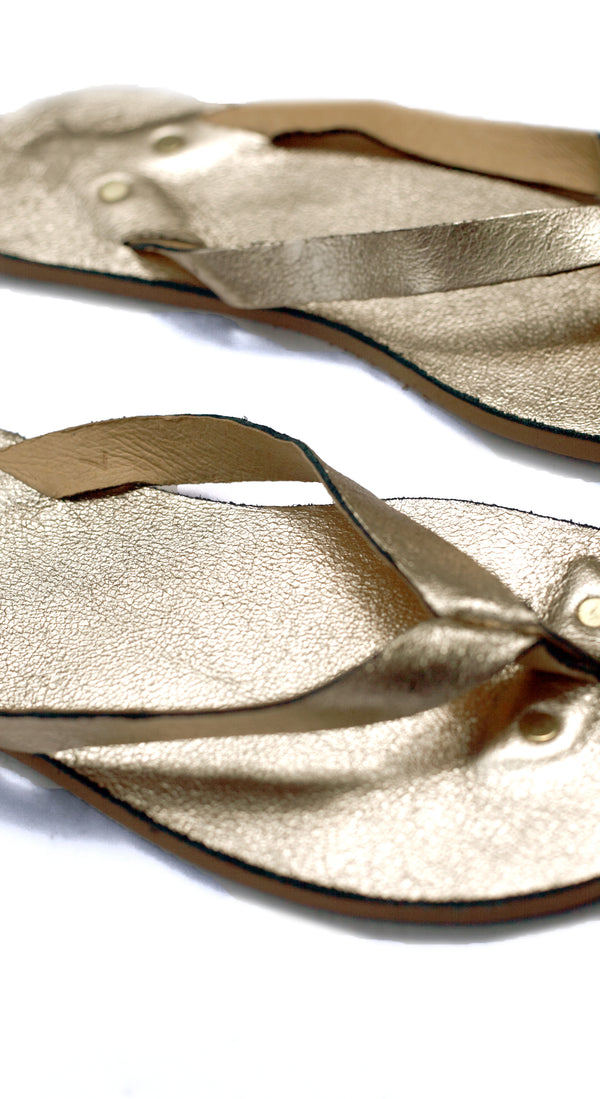 Crackled Gold Flip Flops