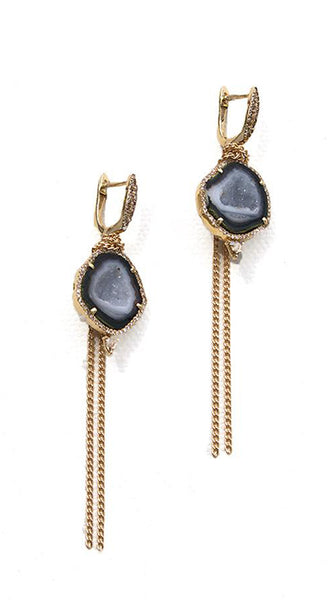Yellow Gold Pave Geode Rosecut Diamond Drop Wrapped Fringe Earrings