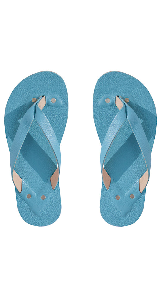 T. Blue Leather Flip Flops