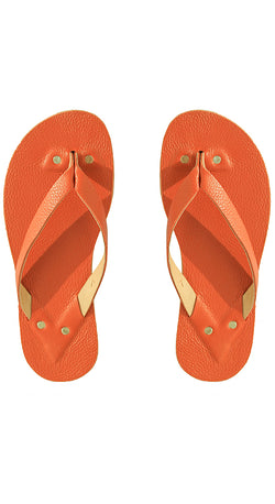 H. Orange Leather Flip Flops