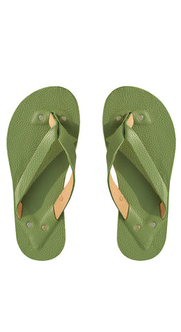 Grass Leather Flip Flops