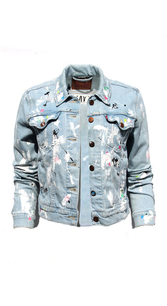 Light Denim Jacket Splatter