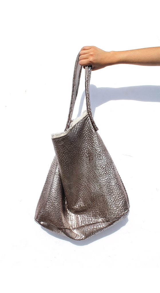 Metallic Leather Hobo Bag