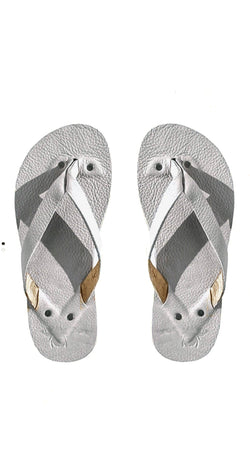 Light Gray Leather Flip Flops