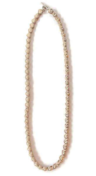 "36"" Nevine In Sand 11mm Copper Colored Pearls Wrapped In Genuine Sand Leather With Sterling Closure Necklace"