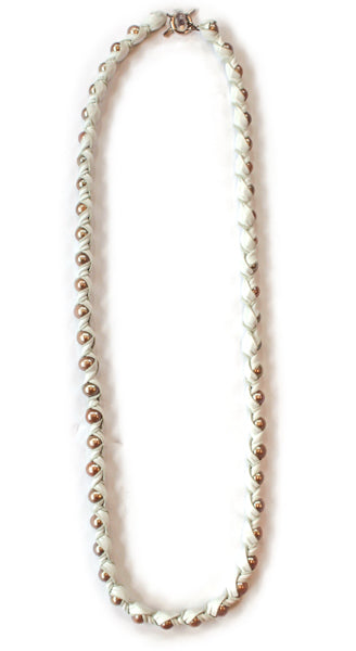 "36"" Nevine In Snow 11mm Copper Pearls Wrapped in Genuine White Leather With Sterling Silver Closure Necklace"