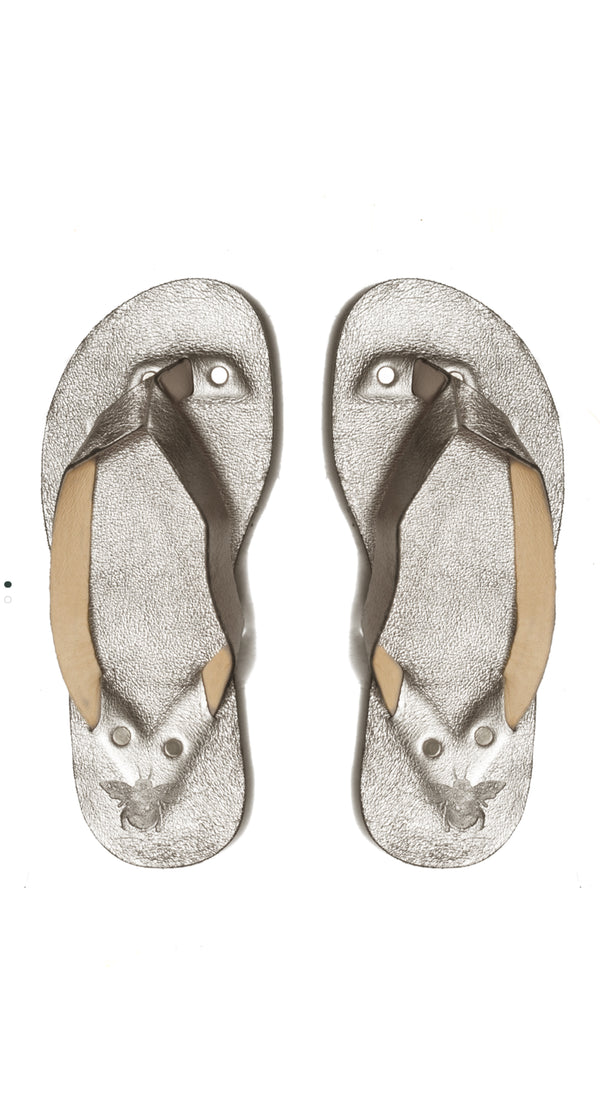 Metallic Silver Leather Flip Flops