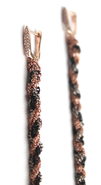Rose Gold Diamond Marquis French Post Black Oxidized Silver Dusters 7 Inch Earrings