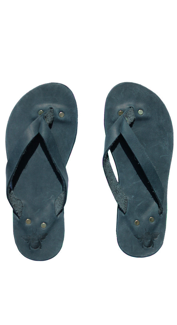 Navy Leather Flip Flops
