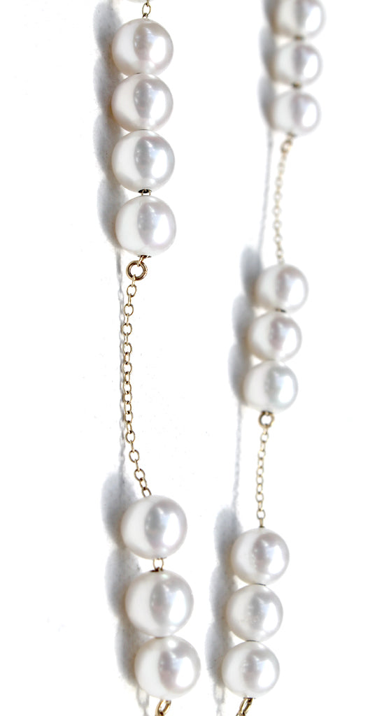 18k Yellow Gold Chain Pearl Necklace