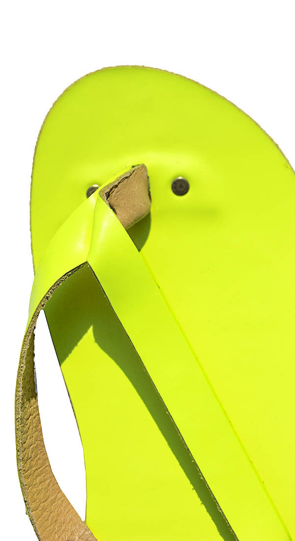 Neon Yellow Leather Flip Flops