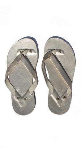 Platinum Leather Flip Flops