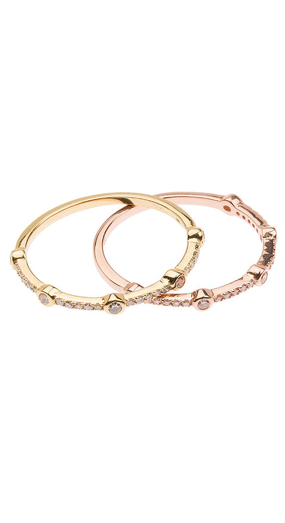 Rose Gold Sticks & Stones White Diamonds Band