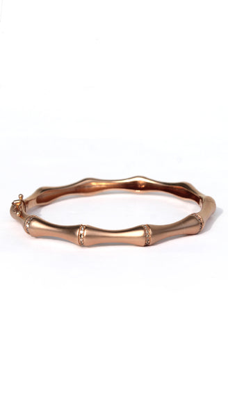 Rose Gold Satin Bamboo Inlaid Diamonds Bracelet