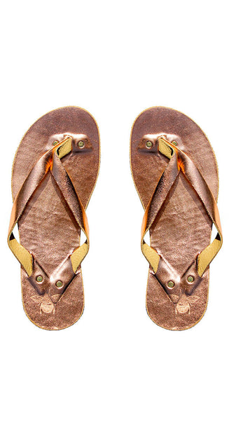 Rose Gold Leather Flip Flops