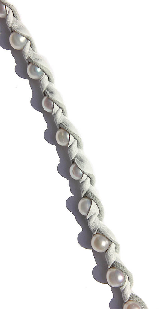 "48"" Blanc Neige With White Pearls In Light Grey Leather With Silver Clasp Necklace"