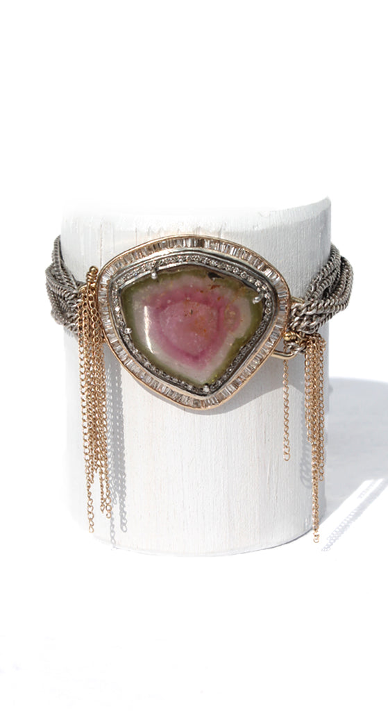 Watermelon Tourmaline Yellow Gold/Silver Baguettes Pave Wrapped Chain Magnetic Clasp Bracelet
