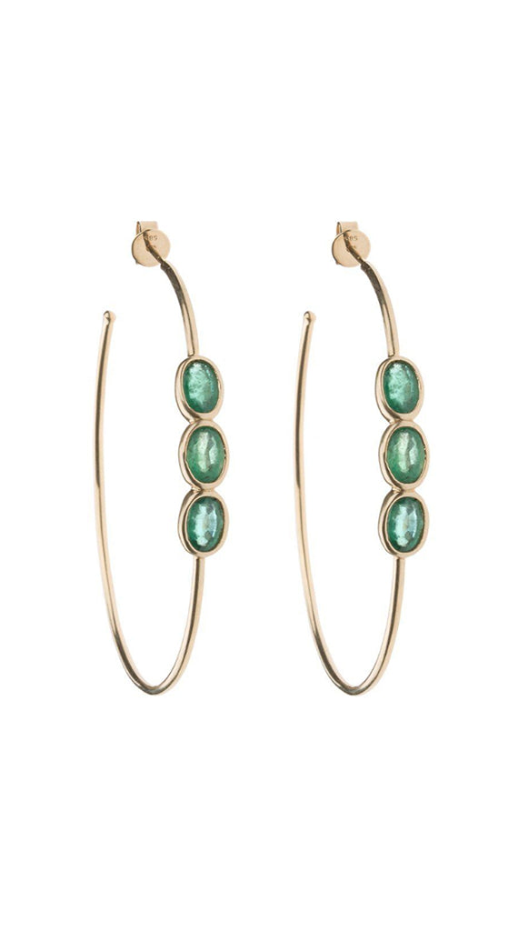 Yellow Gold Large Emerald Jeweled Hoops