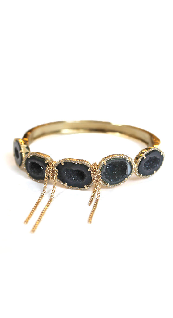 Yellow Gold Pave Edged Geodes Wrapped Gold Fringe Bracelet