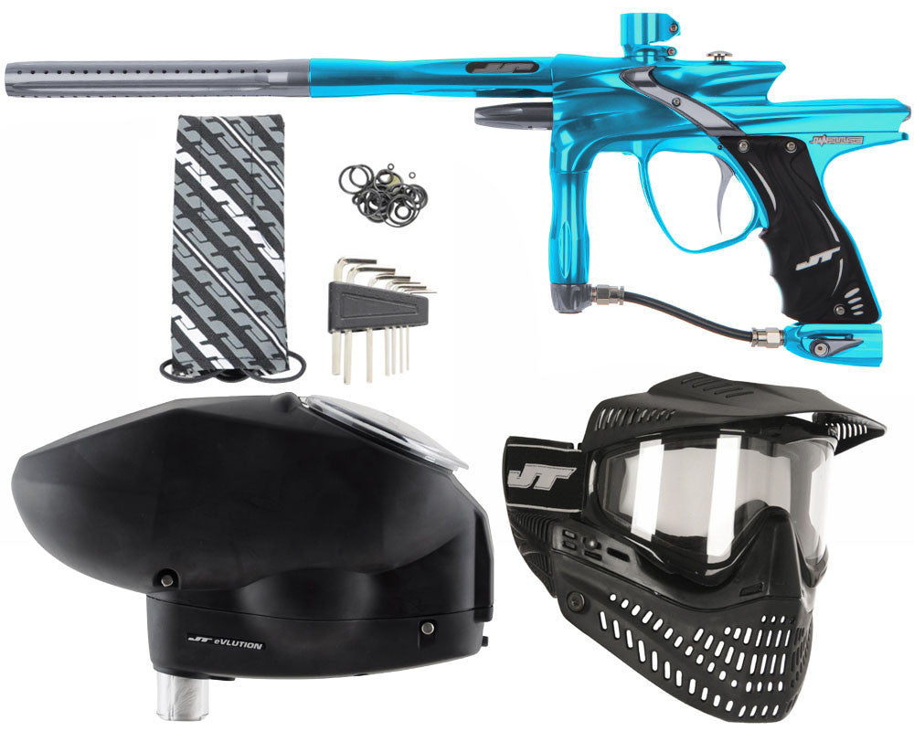 JT Impulse Paintball Gun w/ Free JT Proflex Mask & Evlution Loader - Teal/Charcoal