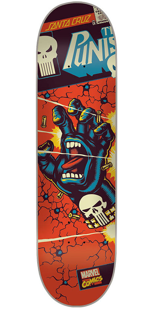 Santa Cruz Marvel Punisher Hand - Red - 32.0in x 8.375in - Skateboard Deck
