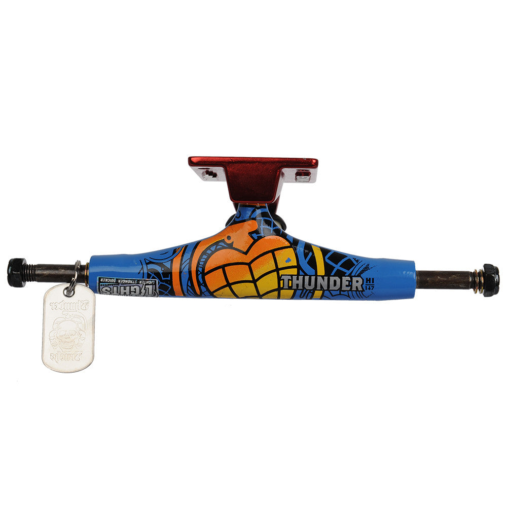 Thunder Commando Lights High - Blue/Red - 147mm - Skateboard Trucks (Set of 2)