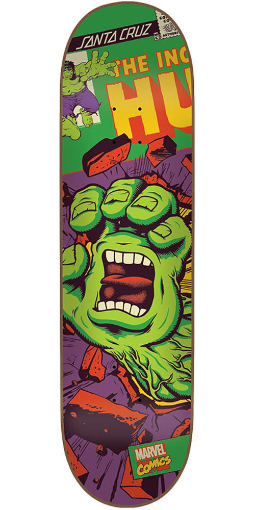 Santa Cruz Marvel Hulk Hand - Green - 32.04in x 8.26in - Skateboard Deck