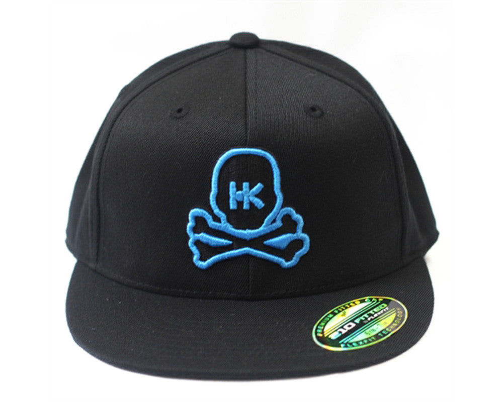 HK Army Flex Fit Skull Hat - Black and Teal