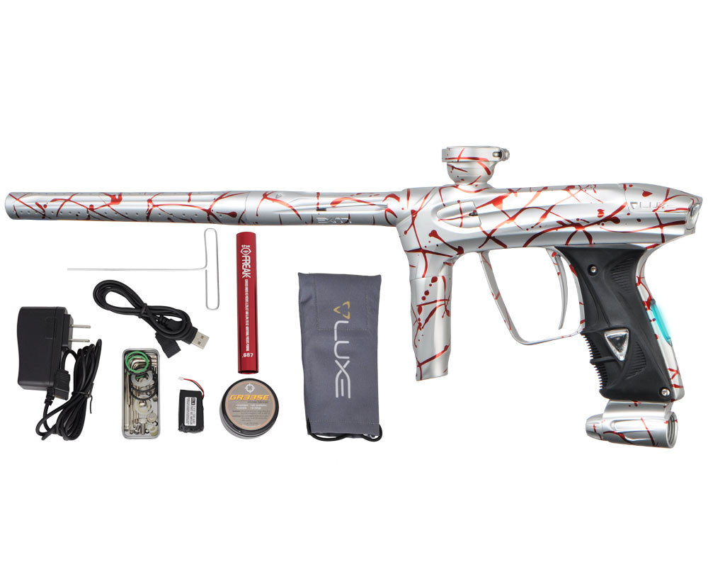 DLX Luxe 2.0 OLED Paintball Gun - 3D Splash Dust White/Red