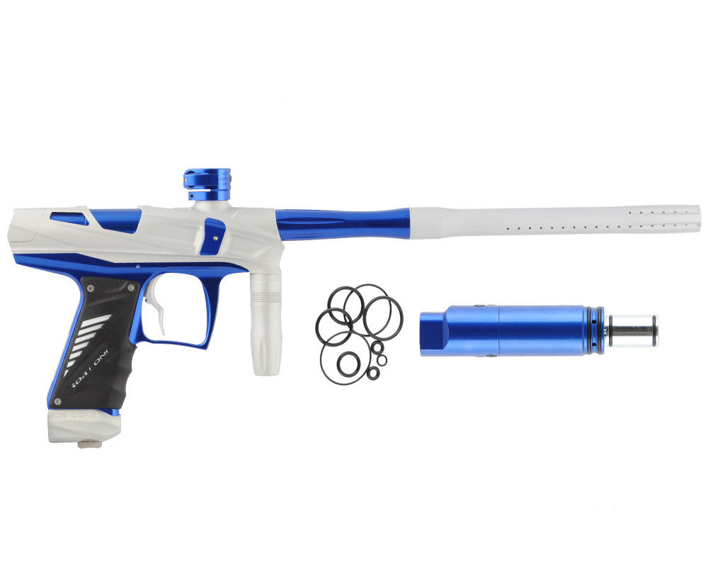 Bob Long Victory V-COM Paintball Gun - Dust White/Blue