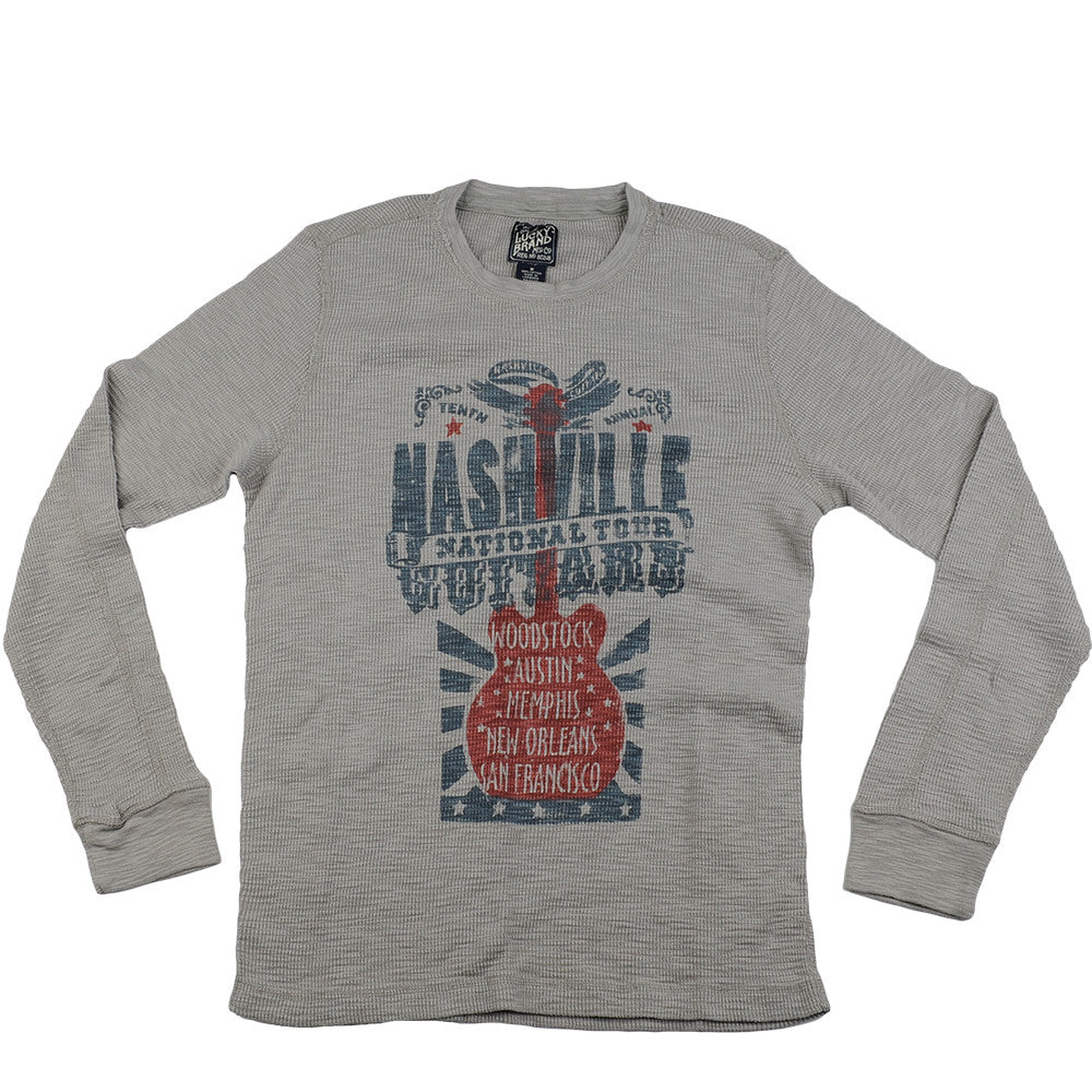 Lucky Nashville Guitar Thermal - Grey - Mens Sweatshirt